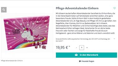 Der Einhorn-Adventskalender enthält Pflegeprodukte. (Foto: geschenke.de)