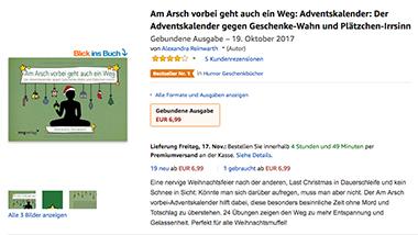 Mit witzigen Sprüchen soll dieser Adventskalender gegen den Weihnachtsstress helfen. (Foto: Amazon)