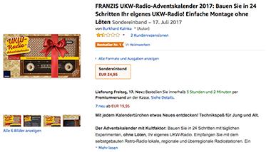 Adventskalender für Bastler: UKW-Radio Stück für Stück selbst zusammen bauen. (Foto: Amazon)