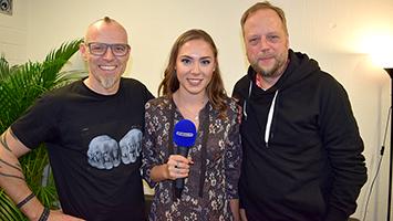 Thomas D und Smudo von den Fantastischen Vier mit Moderatorin Celine Jost. Foto: STUGGI.TV/Goes