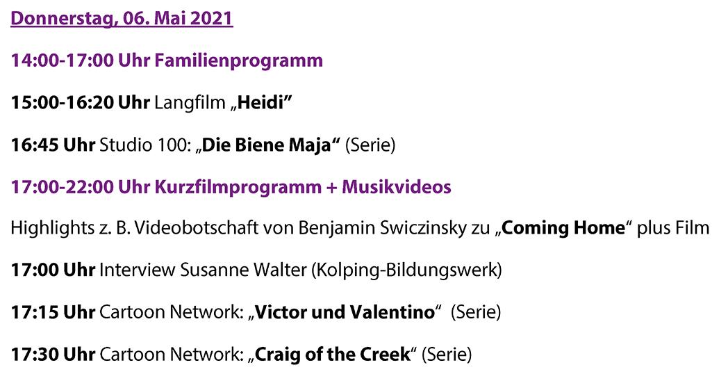 So sieht das Programm des ITFS am Donnerstag, 6. Mai 2021 aus.