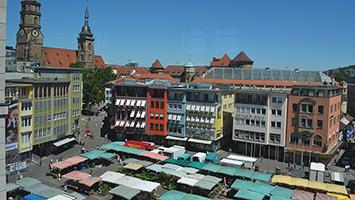 An Tagen ohne Wochenmarkt ist auf dem Stuttgarter Marktplatz tote Hose. Foto: STUGGI.TV
