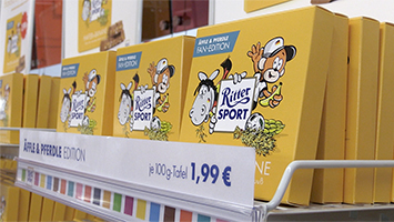 """Die Sorte """"Hafer und Banane"""" gibt es jetzt als """"Äffle und Pferdle""""-Edition bei Ritter Sport (Foto: STUGGI.TV/Goes)"""