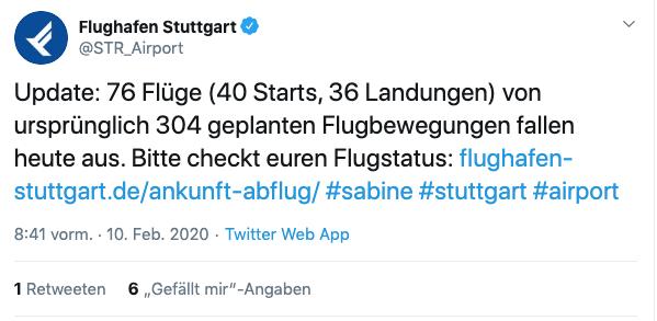 """Auch am Stuttgarter Flughafen kam es aufgrund von """"Sabine"""" zu Einschränkungen. (Screenshot: Twitter/@STR_Airport)"""